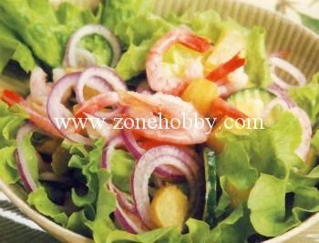 салат из ревеня с креветками